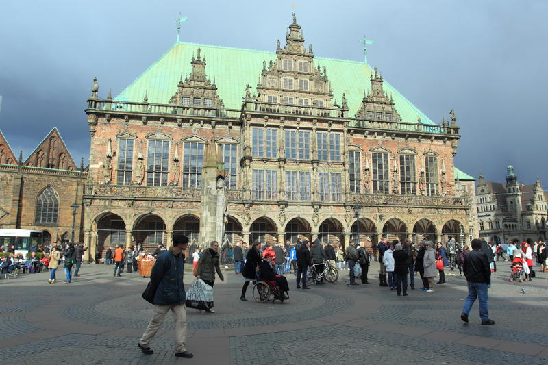 Town hall in Bremen. Before storm, Germany royalty free stock image