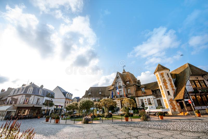 Town hall building in Deauville, France. Town hall building during the morning light in Deauville, famous french town in Normandy royalty free stock image