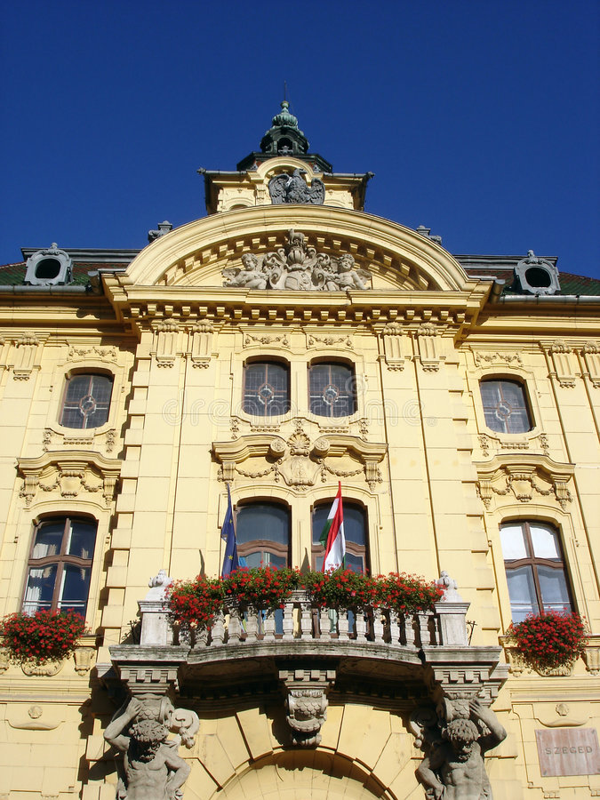 Town Hall Building Szeged Hungary. Architecture Detail Of Town Hall Building Of Szeged Hungary royalty free stock image