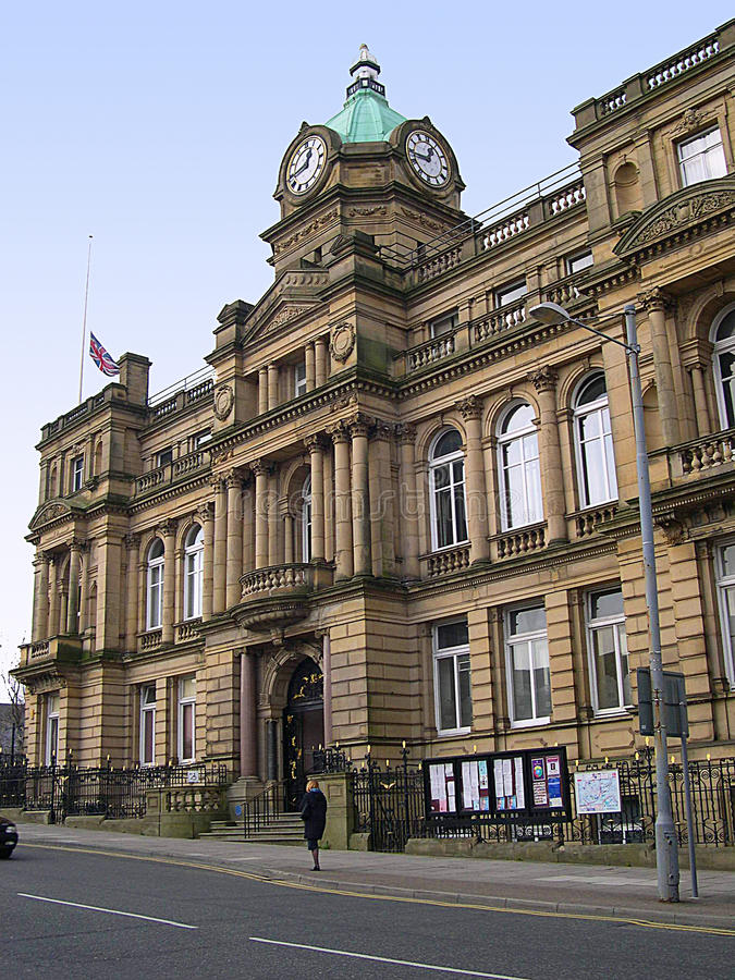 Town Hall in Burnley Lancashire. Burnley is a large post-industrial market town in Lancashire, England, with a population of around 73,500. It lies at the royalty free stock photos