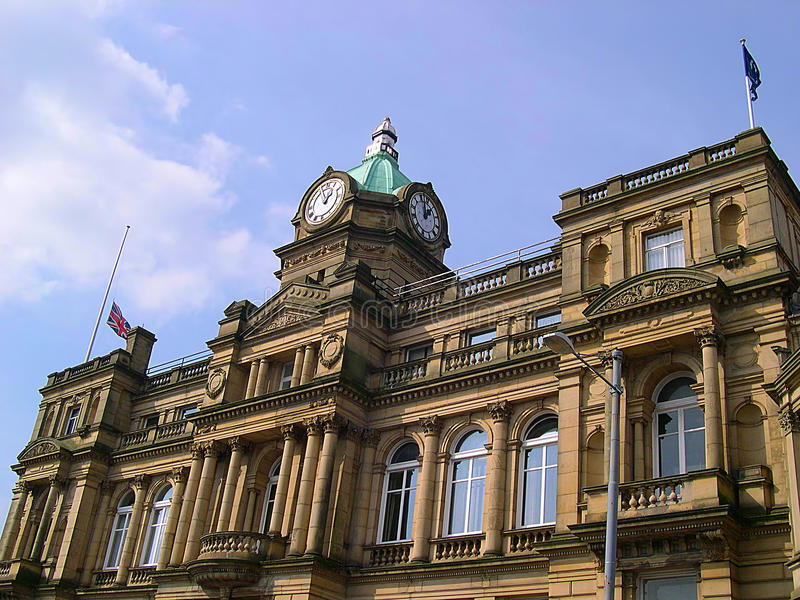 Town Hall in Burnley Lancashire. Burnley is a large post-industrial market town in Lancashire, England, with a population of around 73,500. It lies at the royalty free stock photo