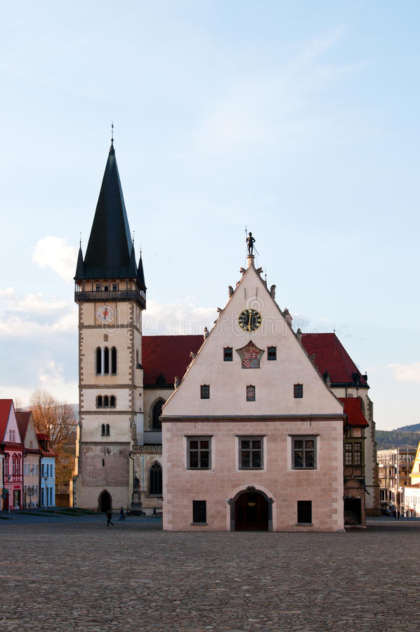 Town Hall and church in Bardejov, Slovakia stock photography
