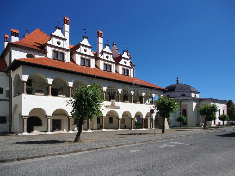 Town hall and church in Levoca royalty free stock photos