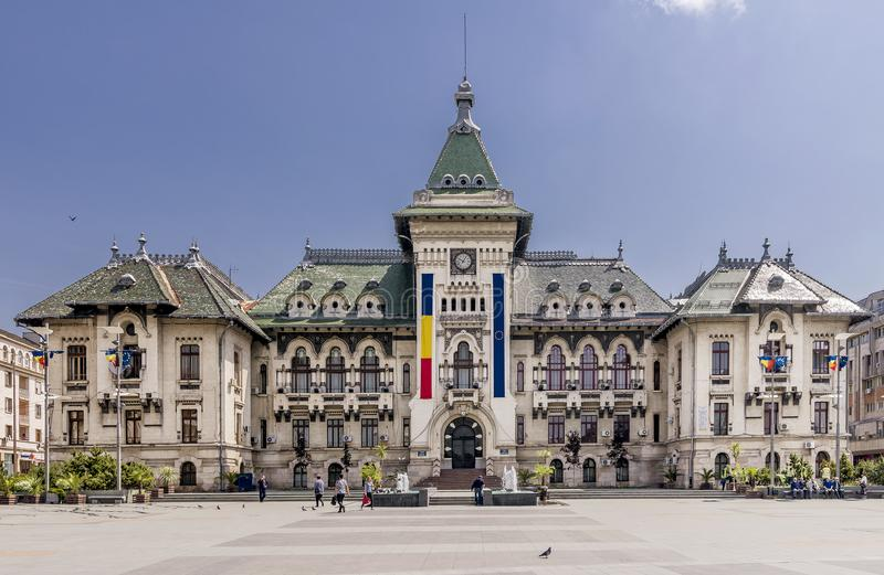 The facade of the Administrative Palace of Craiova (today Dolj Prefecture and County Council), Romania. The facade of the Administrative Palace of stock photos