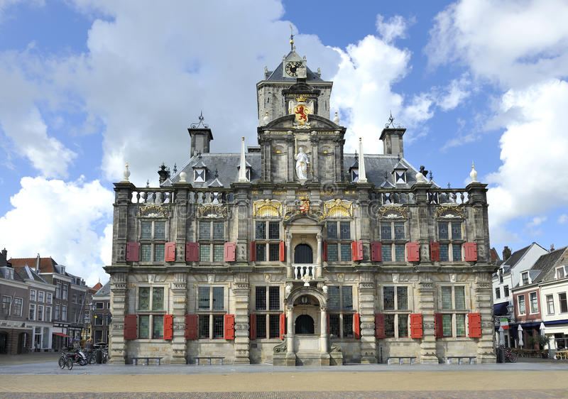 Town hall in Delft. Town hall at the Market Square in Delft, Holland royalty free stock image