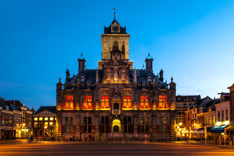 Town Hall of Delft, Netherlands. Delft is a mid-sized city in the west of the Netherlands. It's a beautiful, unspoiled town with traditional architecture, canals royalty free stock photo