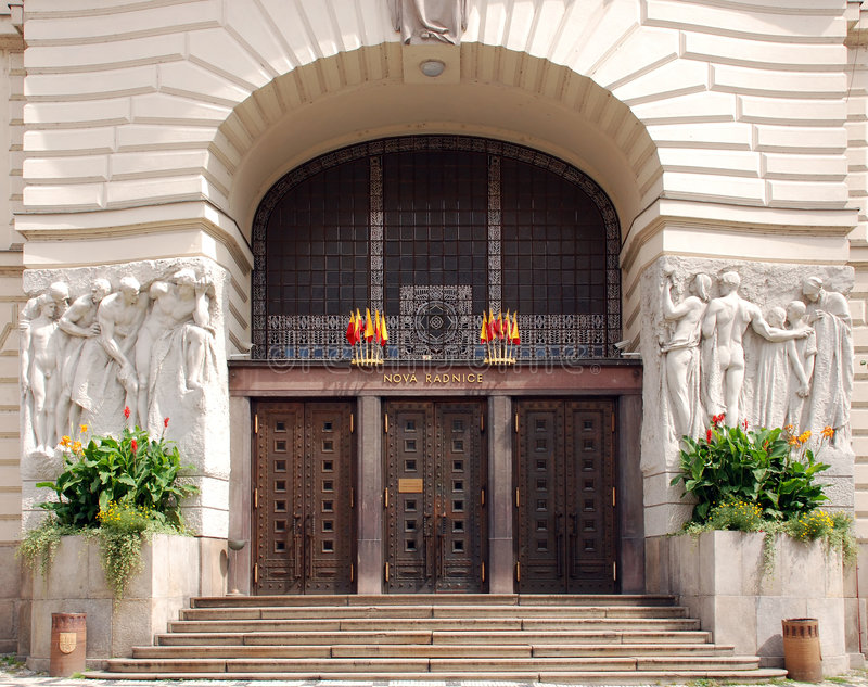 Town hall entrance. New town hall entrance in Prague royalty free stock photo
