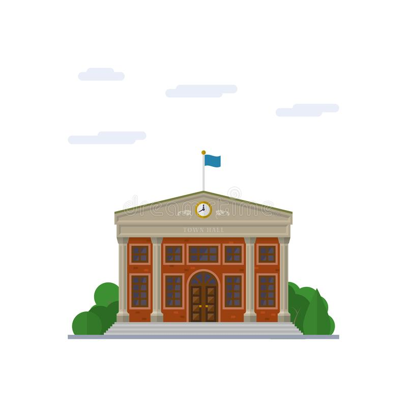 Free Town Hall Flat Design Vector Illustration Royalty Free Stock Image - 119619286
