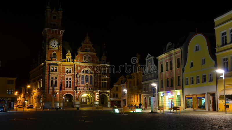 Town hall in Frydlant. On square stock image
