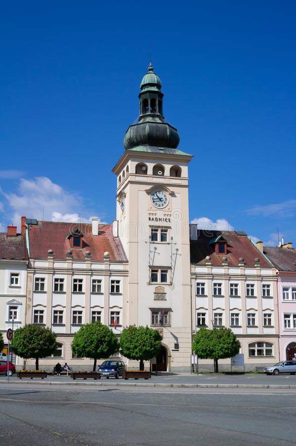 Town hall, Fulnek, Czech Republic / Czechia. May 1, 2019: Historical building of Municipality on the Komensky square. Landmark and monument during sunny stock photo
