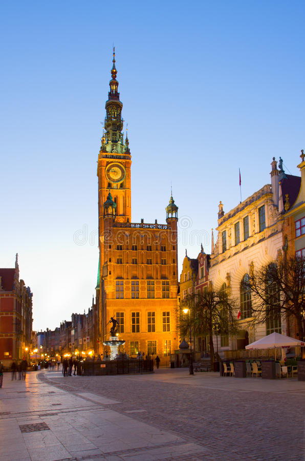 Download Town Hall Of Gdansk At Night Stock Photo - Image: 32009922