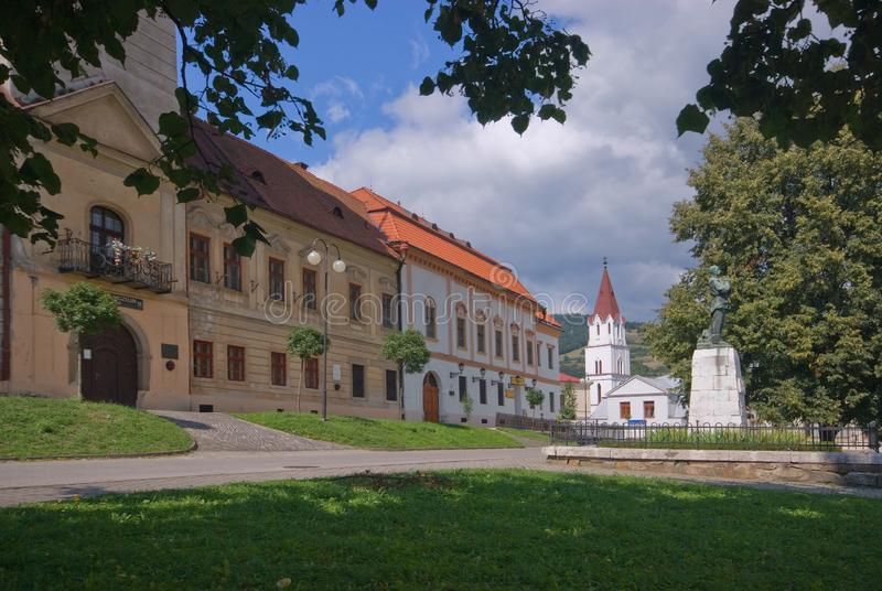 Town Hall at Gelnica town during summer. In front of Town Hall at Gelnica historical center during summer, today the residence of mining museum, Europe, Slovakia stock images