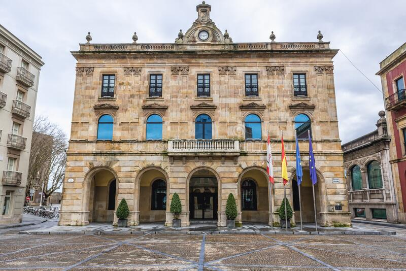 Town Hall in Gijon. Facade of Town Hall in historic part of Gijon city in Asturias region of Spain, plaza, mayor, houses, tenement, tenements, old, historical stock photo