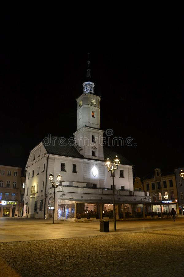 Town hall in Gliwice, Poland. Night view from Gliwice, Silesia, Poland royalty free stock images