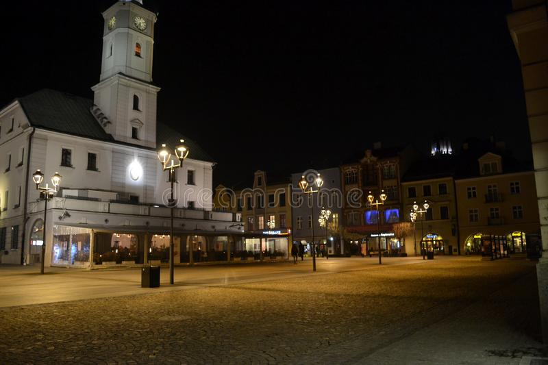 Town hall in Gliwice, Poland. Night view from Gliwice, Silesia, Poland royalty free stock photos