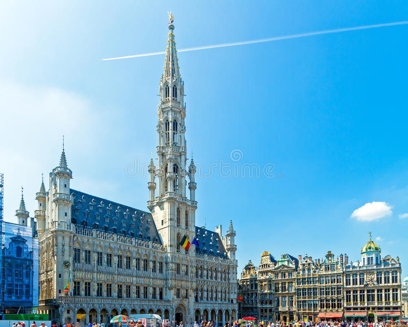 Town Hall and Guild Houses, Brussels stock photos