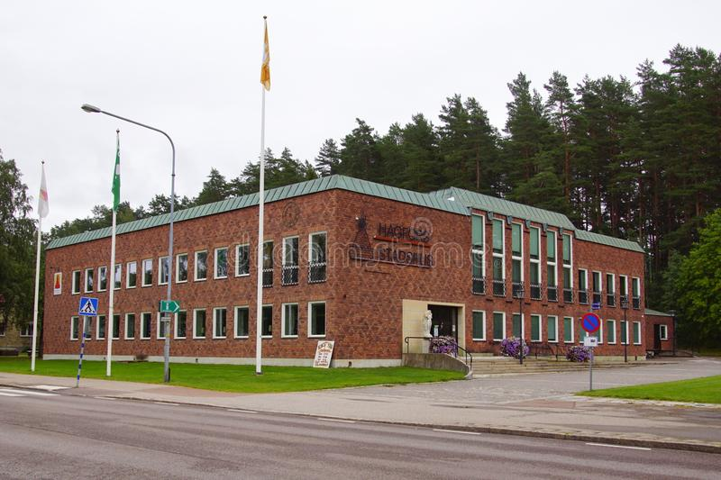 The town hall of Hagfors, Sweden. Hagfors, Sweden - August 4, 2019: The town hall of Hagfors, Sweden stock images