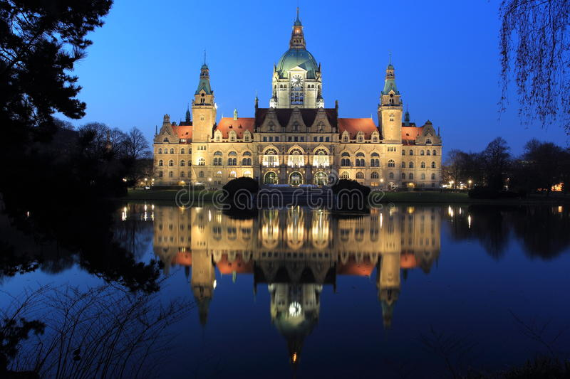 Town hall in Hannover. The new town hall in Hannover in night, Germany stock image