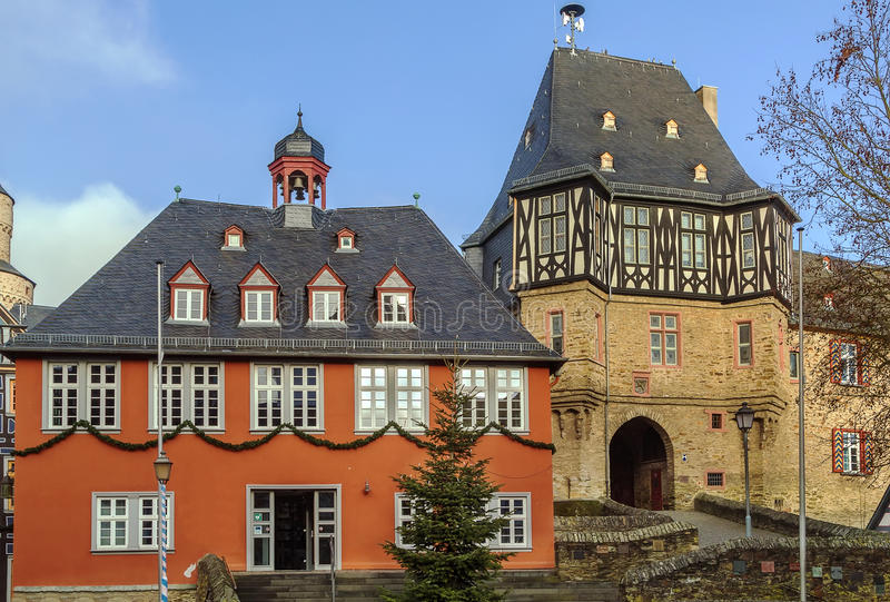 Town hall in Idstein, Germany. Town Hall (Rathaus) from 1698 in Idstein, Germany royalty free stock image