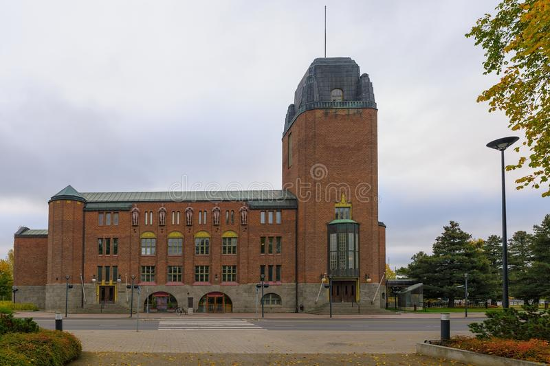 Town Hall at Joensuu, Finland. At autumn overcast day. It was designed by Eliel Saarinen, who also designed Helsinki's train station, and was built in 1914 stock photo