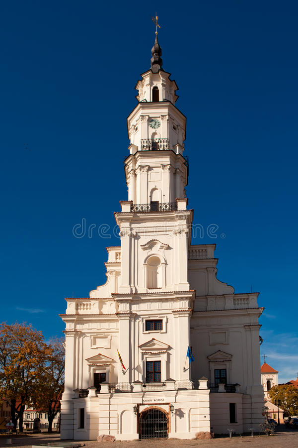 Town Hall of Kaunas. In Town Hall Square at the heart of the Old Town, Kaunas, Lithuania royalty free stock photo