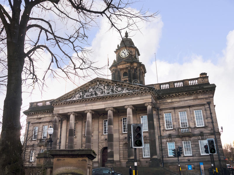 The Town Hall in Lancaster England is a classical Greek style building in the Centre of the City royalty free stock image