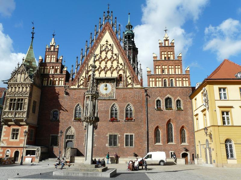 WROCLAW,SILESIA,POLAND-The town hall at the main square stock photography