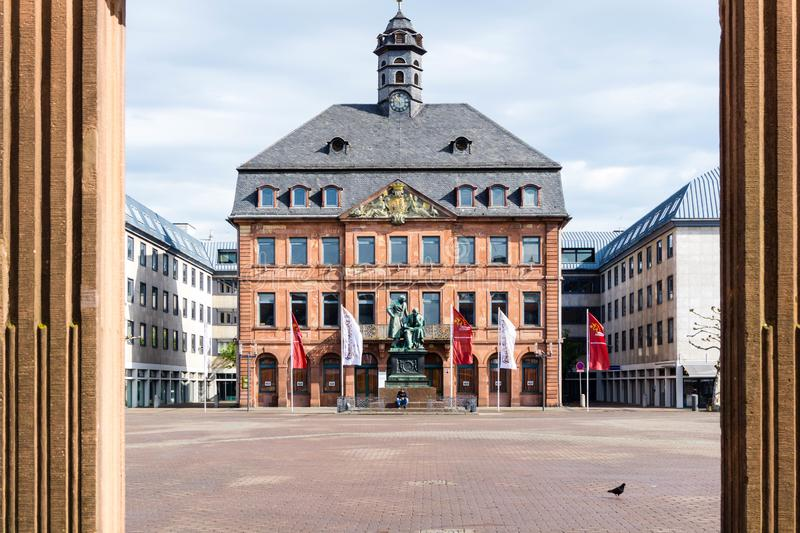 Town Hall and Market Square in Hanau Hessen Germany stock photos