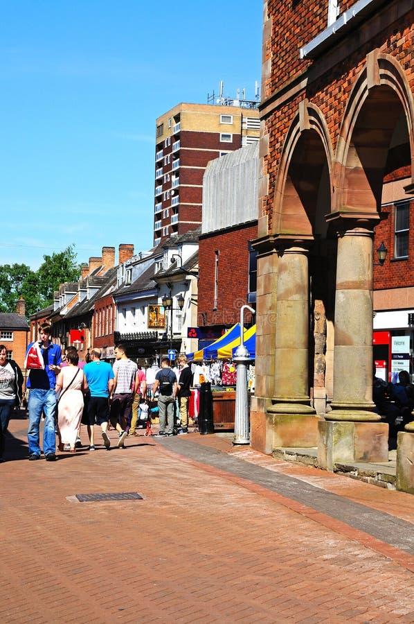Town hall and Market Street, Tamworth. stock image