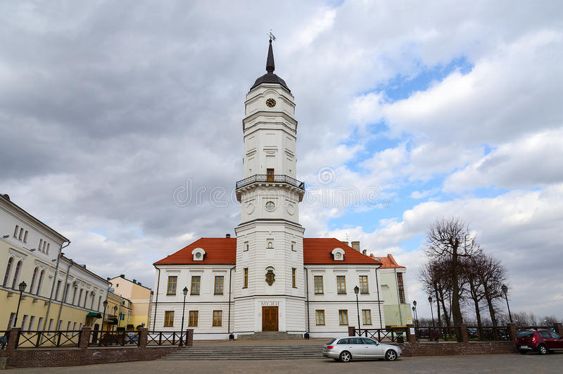 The Town Hall, Mogilev, Belarus. MOGILEV, BELARUS - APRIL 23, 2015: Town Hall is restored architectural monument of XVII century. Museum of the History of royalty free stock photos
