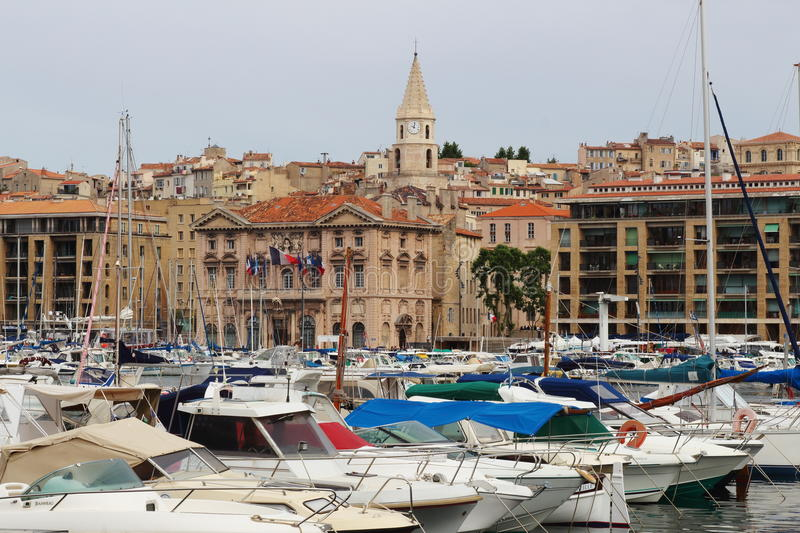 Town hall near harbour Marseille France stock image