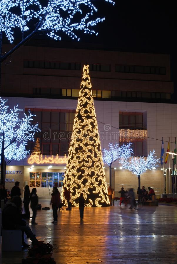 Modern Christmas Tree, Fuengirola, Spain. Stock Photos