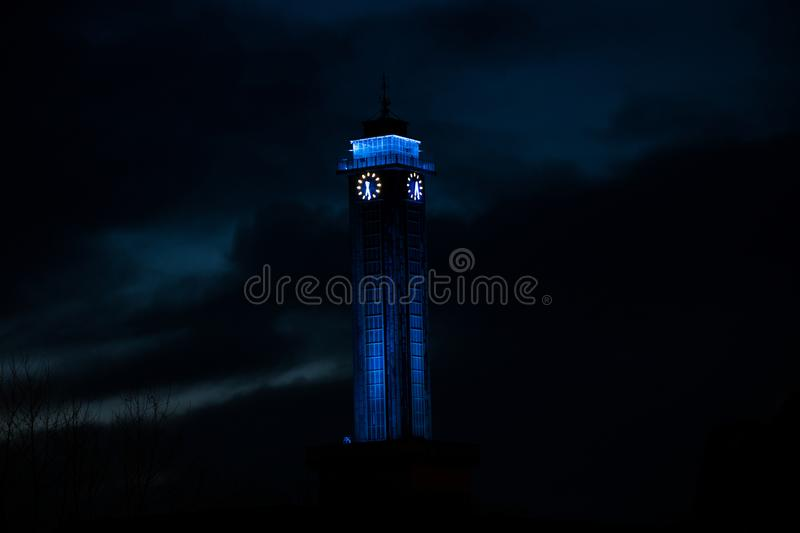 Town hall of Ostrava. Czechia at night next to the river Ostravice royalty free stock images