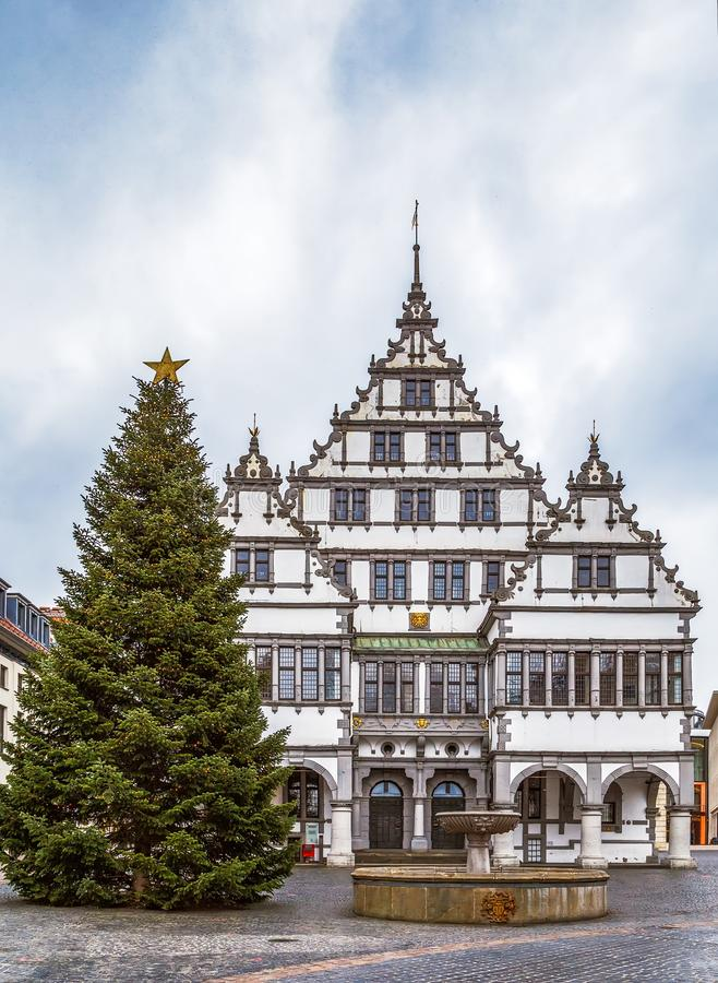Town hall of Paderborn, Germany. Renaissance town hall was constructed in 1616 on square in Paderborn city center, Germany stock photos