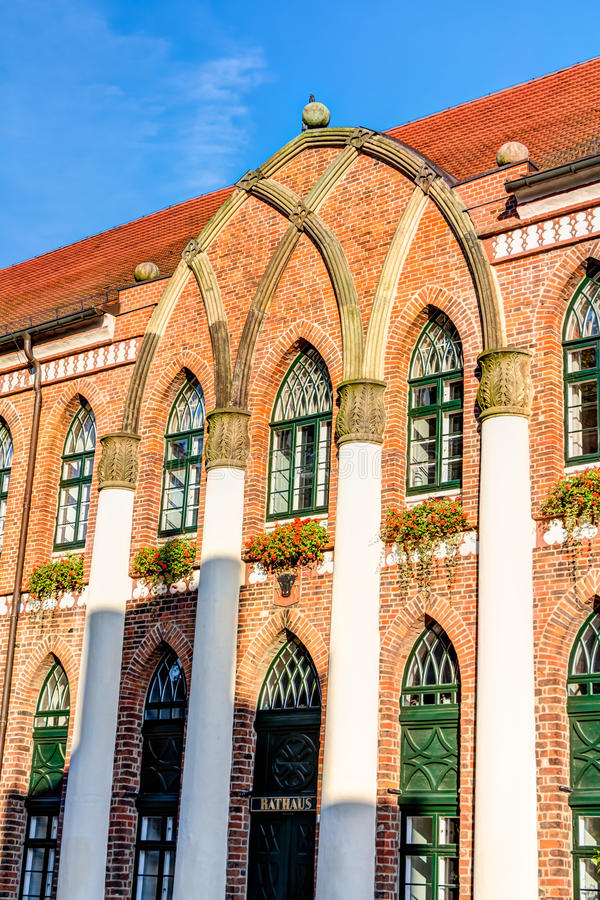 Town hall of Parchim. In Mecklenburg-Vorpommern in Germany royalty free stock image