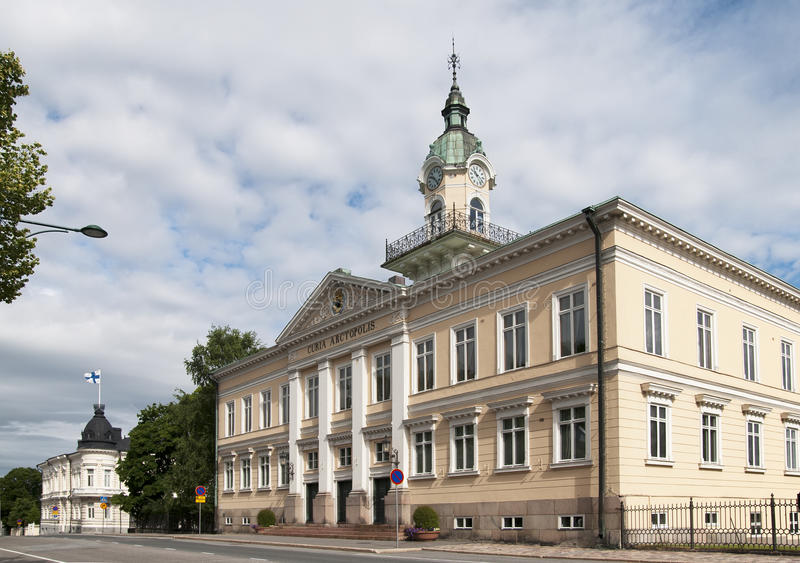 Town Hall. Pori. Finland. Street with Town Hall in Pori. Finland stock photos
