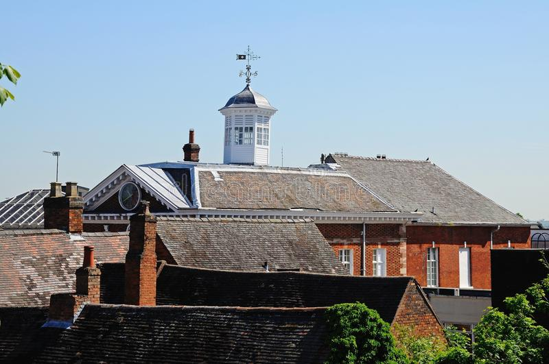 Town hall and rooftops, Tamworth. stock photos