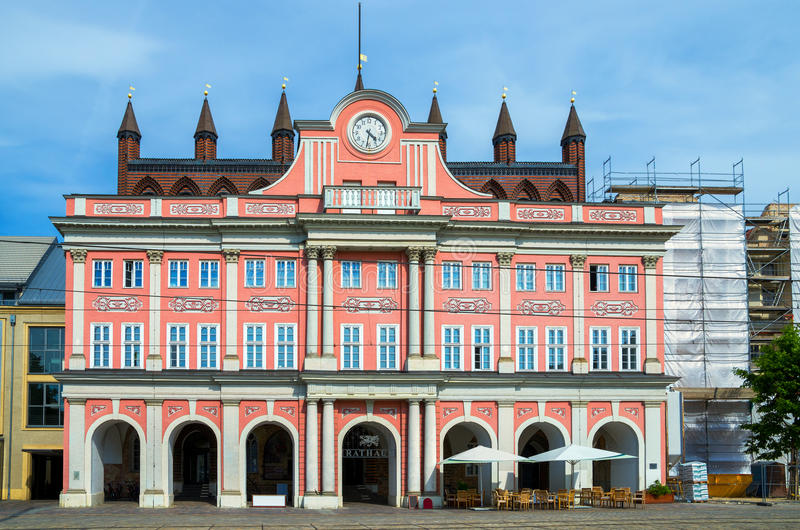 Town Hall. Rostock, Germany. View of Town Hall (Rathaus) at Neuer Markt in Rostock. Mecklenburg Western Pomerania, Germany royalty free stock images