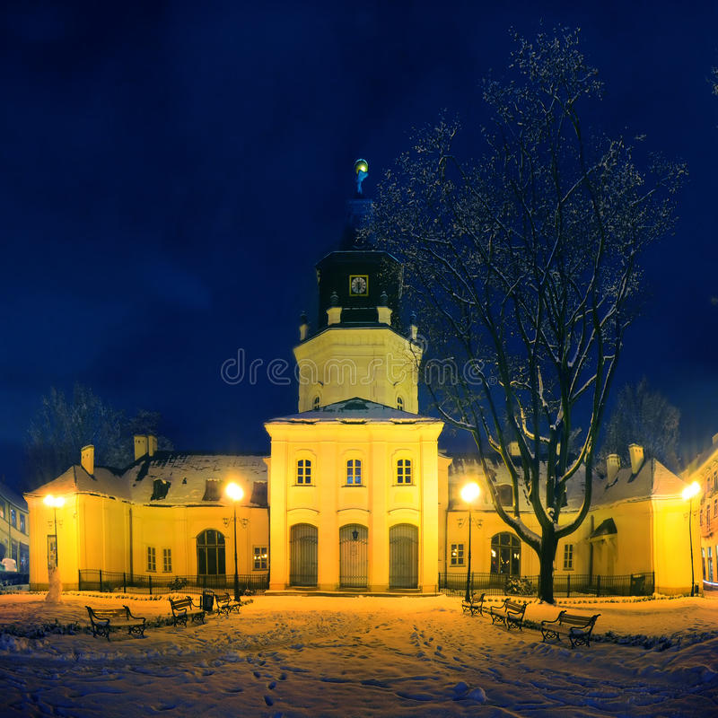 Town Hall in Siedlce, Poland at night. Town Hall in Siedlce, Poland covered with snow at night stock image