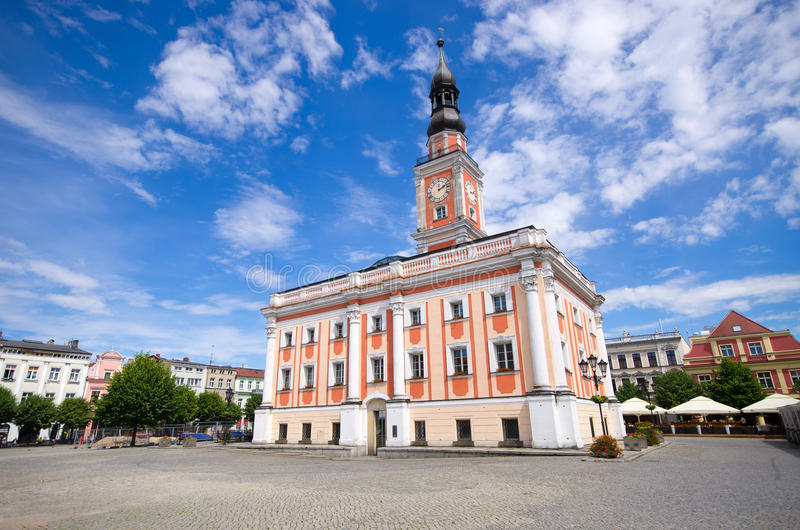 Town hall and square in Leszno, Poland. Town hall and square in Leszno - Poland royalty free stock photography