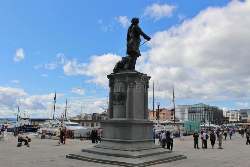 The Town Hall Square in Oslo, Norway, Europe. The statue of the naval officer Peter Wessel Tordenskiold. Look on the harbor Pipervika stock image
