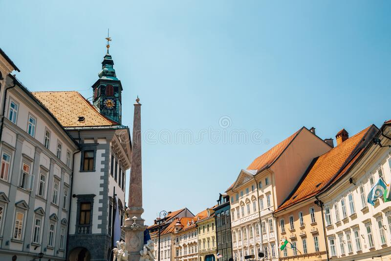 Town Hall square and Robba fountain in Ljubljana, Slovenia. Europe royalty free stock images