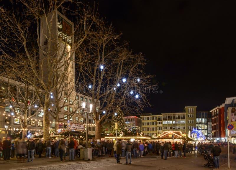 Town Hall square at Xmas market time, Stuttgart royalty free stock photo
