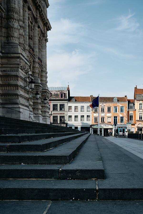 Town Hall stairs. ROUBAIX, FRANCE - Apr 17, 2019: Vertical shot of the stairs in front of the town hall of Roubaix - France stock photo
