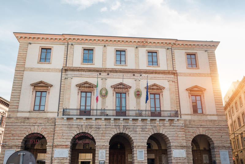 Town Hall of Tolentino - Italy. TOLENTINO, ITALY- AUGUST 19: Facade of Town Hall. It is one of the municipalities affected by the earthquake of 2016 on august 19 royalty free stock image