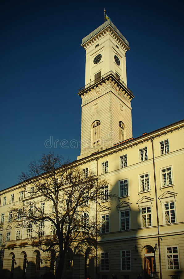 Town Hall Tower in the Centre of European city royalty free stock images