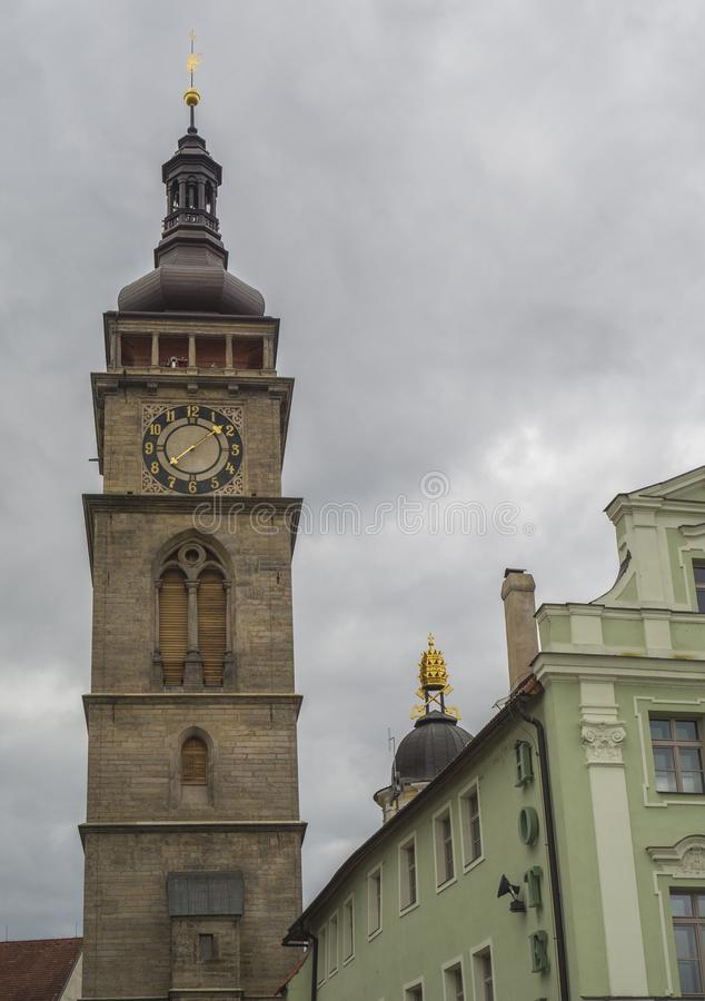 Town hall tower in city Hradec Kralove in Czech republic royalty free stock image