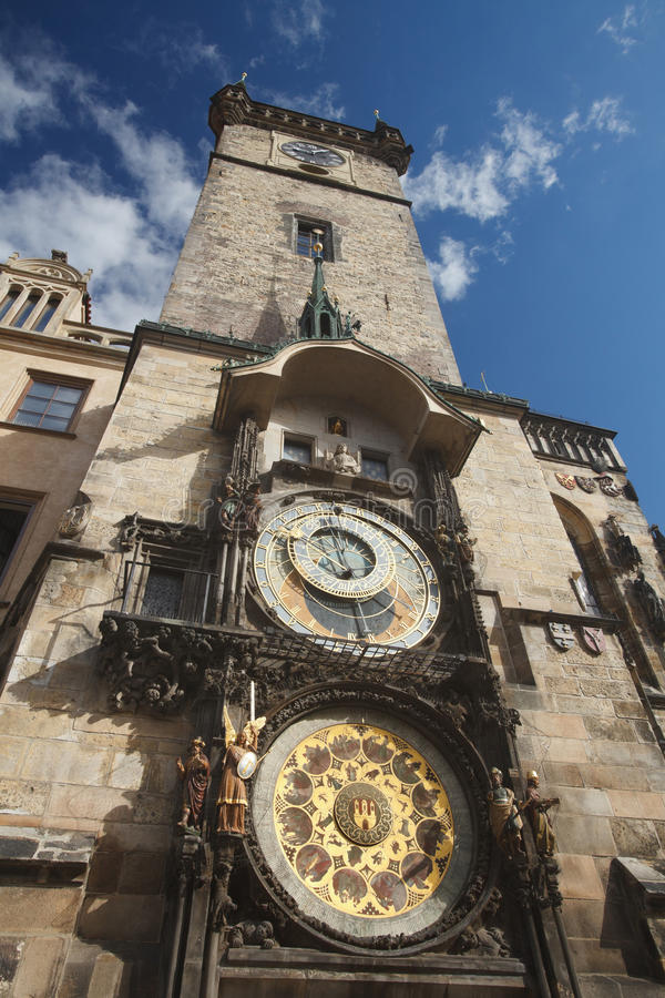 Town Hall Tower with the Horologe, the medieval astronomic clock. The Old Town Hall Tower with the Horologe, the medieval astronomic clock, Prague, Czech royalty free stock images