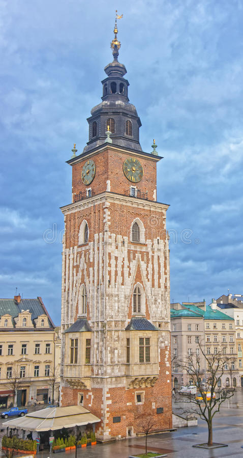 Town Hall Tower in the Main Market Square of the Old City in Krakow in Poland at Christmas. In winter royalty free stock photography