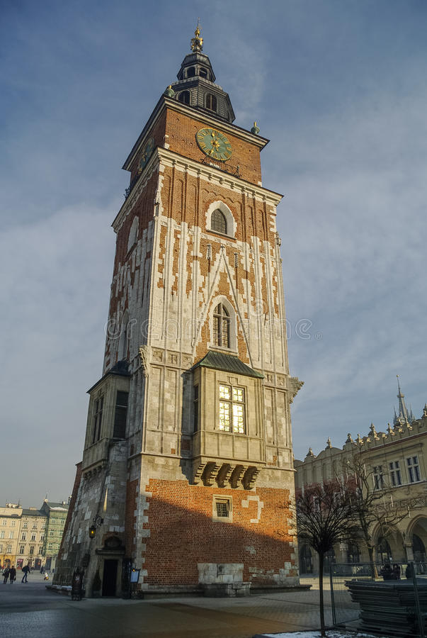 Town Hall Tower in the main market square (Rynek Glowny) in Krakow in Poland. stock photography